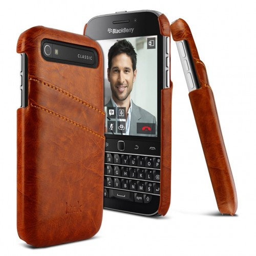 low priced a5539 c1e7b BlackBerry Classic Q20 - imak PU Leather Hard Protective Phone Cover Case -  Brown