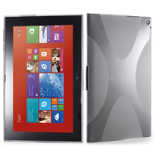 best service c6a4a 00654 Nokia Lumia 2520 Tablet - Clear Black X Design SoftGel Flexible TPU  Protective Tablet Cover Case