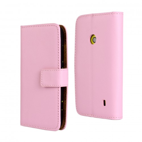 brand new 9782e 966fc Nokia Lumia 520 - Genuine Leather Flip Stand Protective Phone Cover Case  Wallet - Pink