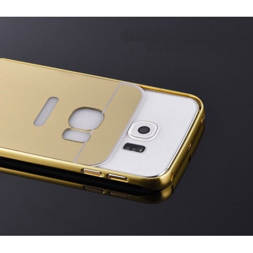 Samsung Galaxy Grand Prime - Shiny Bling Bling Mirror 2 in 1 Aluminium Bumper Protective Phone Cover Case - Rose Gold