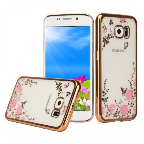 low priced 8a4a2 bcca9 Samsung Galaxy J3 / J3 Pro - Secret Garden Floral and Butterfly Bling  Rhinestone Electroplated Clear Soft TPU Protective Phone Cover Case - Gold  and ...