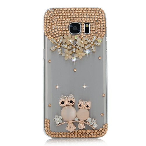 big sale 2dcad e4847 Samsung Galaxy S7 Edge - Luxury Handmade Bling Bling 3D Rhinestone Crystal  Protective Hard Clear Phone Cover Case - Owl and Flower