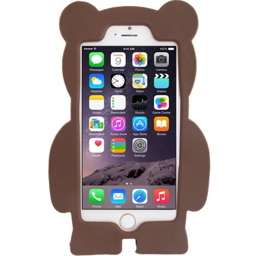 iPhone 6 6s 4.7 - 3D Silicone Cartoon Cute Soft Protective Phone Cover Case - Brown Teddy Bear