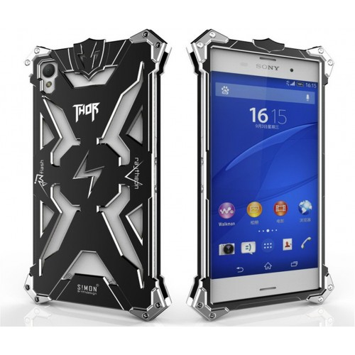 more photos ac4b3 f8343 Sony Xperia Z3 - Armor THOR Aluminium Metal Cover Case with inner Silicone  Shell Case - Black
