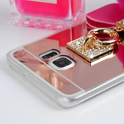 new arrival 9bb41 6177f Samsung Galaxy S6 Edge Plus - Bling Bling Soft Fluff Ball Pink Mirror Ring  Grip Mount Stand Holder Protective TPU Soft Phone Cover Case