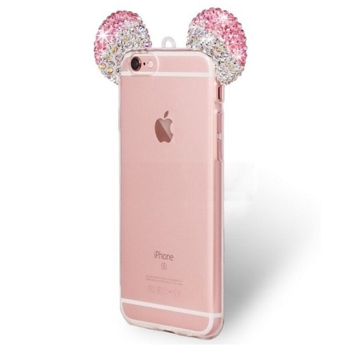 Samsung Galaxy Note 3 - Mickey 3D Bling Bling Crystal Ear with Removable Strap TPU Soft Protective Cover Case ...