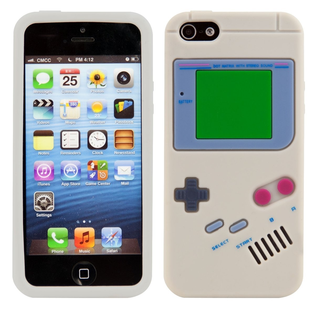 iPhone SE 5 5s - 3D Silicone Classic Game Boy Soft Protective Phone Cover Case - White